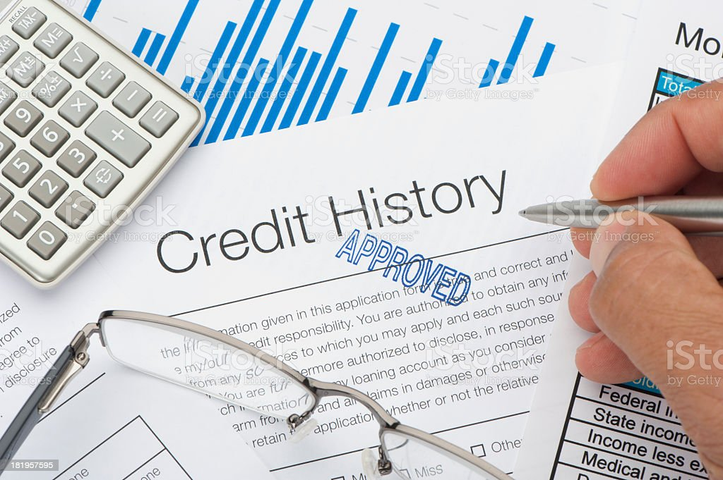 Close up of approved Credit History form stock photo