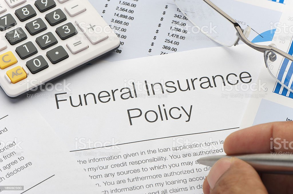 Close up of approved Funeral Insurance policy royalty-free stock photo