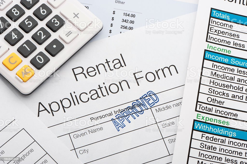 Close up of approved rental application stock photo