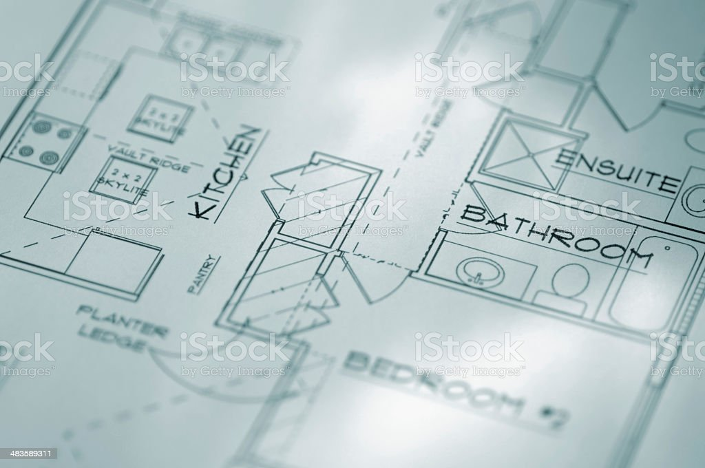 Close Up Of Architectural Building Plans royalty-free stock photo