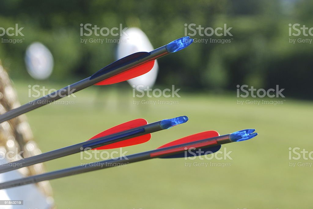 Close up of arrows in an archery target royalty-free stock photo