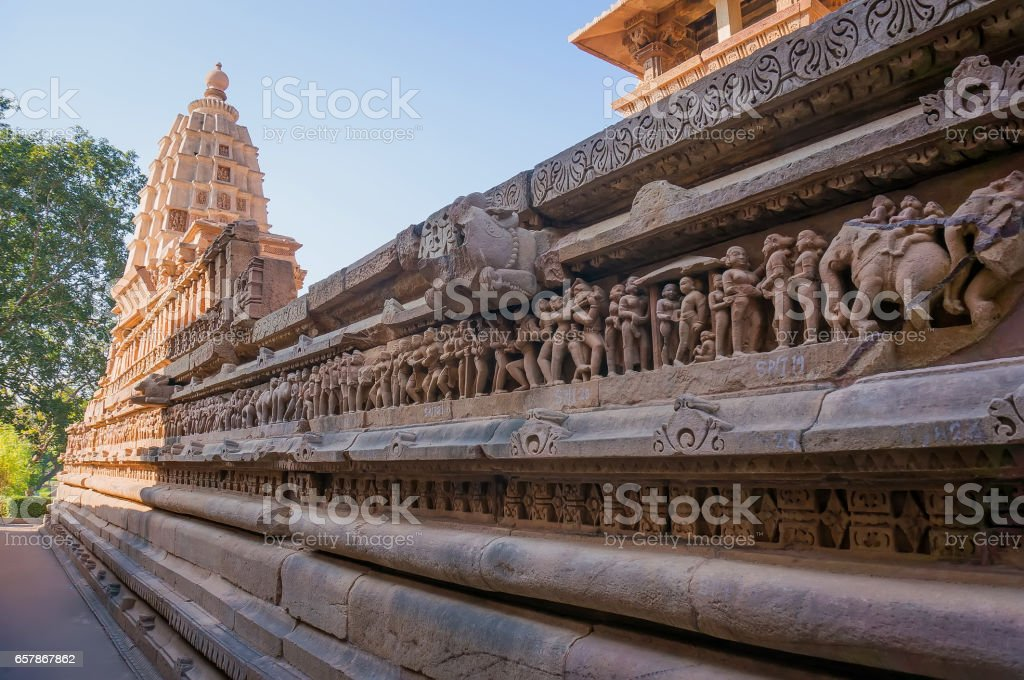 Close up of artful ancient carvings, Khajuraho Group of Monuments, India stock photo