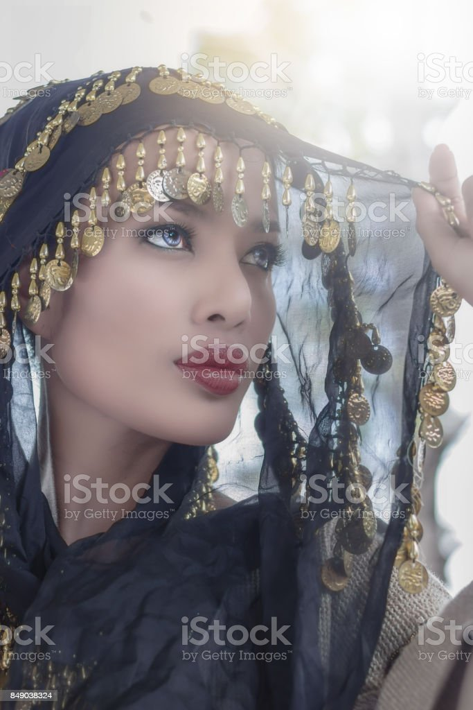 Close up of Asian woman art portrait stock photo