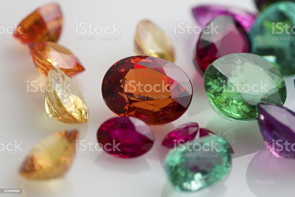 Close up of assorted laser cut gemstones royalty-free stock photo