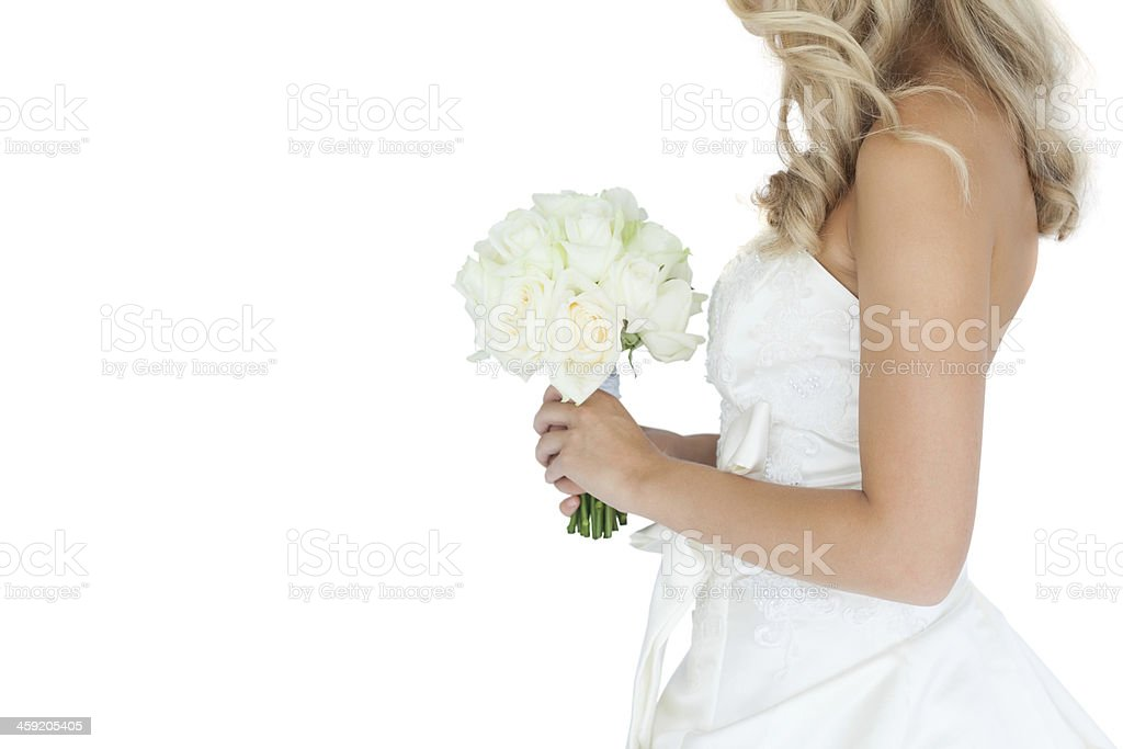 Close up of attactive young blonde bride holding a bouquet stock photo