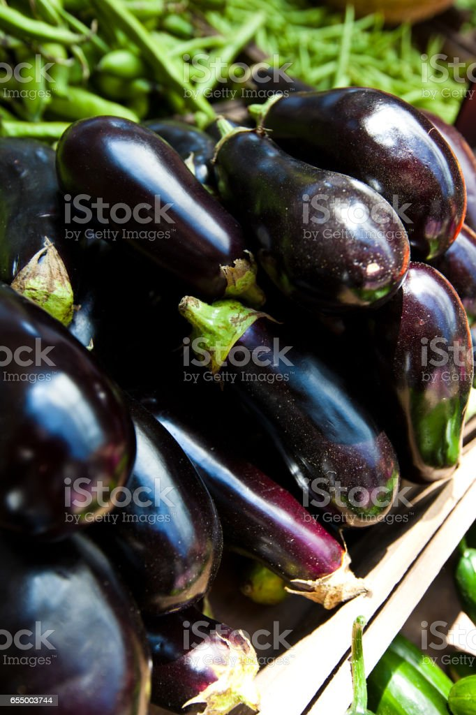 Close up of Aubergine at a market stall stock photo