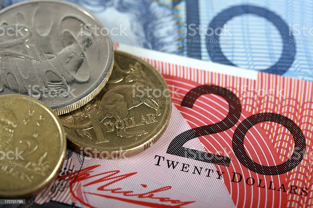 Close Up of Australian Cash Notes and Coins stock photo
