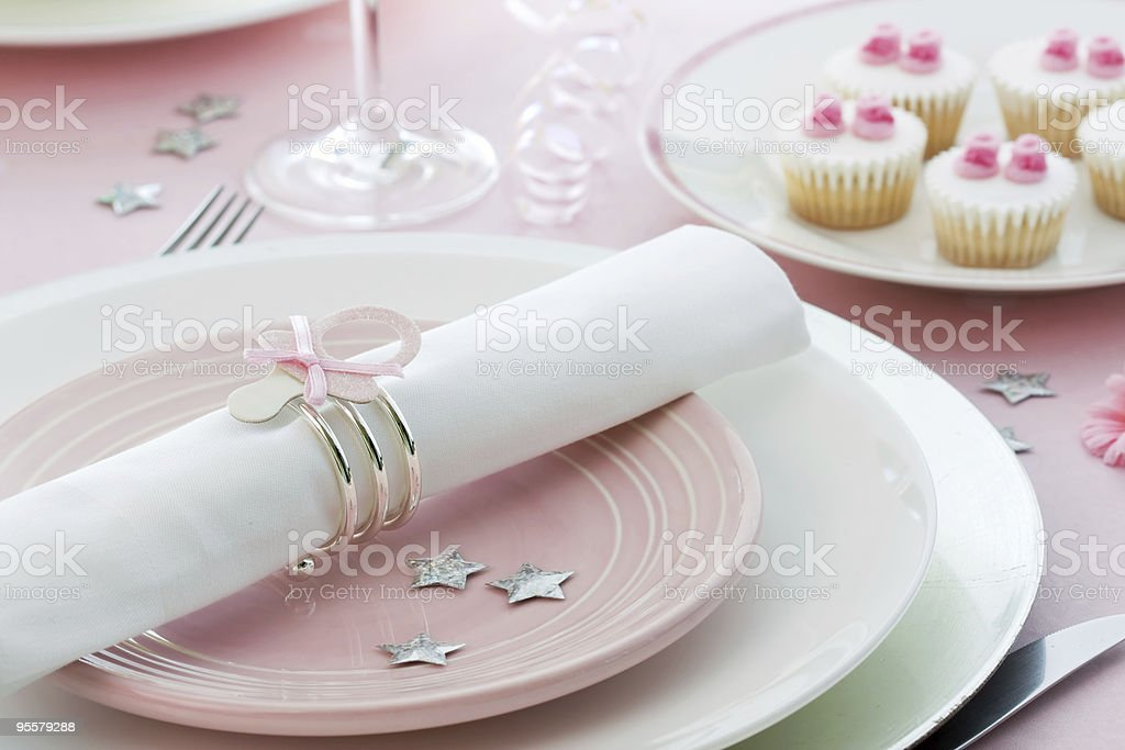 Close up of baby shower detailing for a girl stock photo