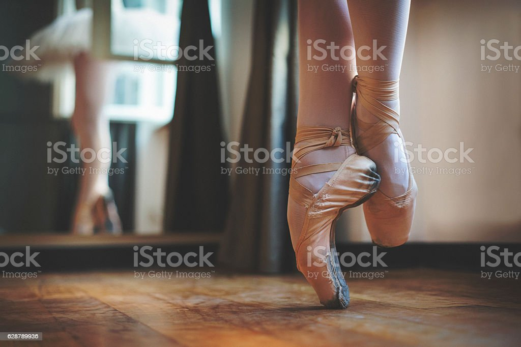 Close up of balerina feet stock photo