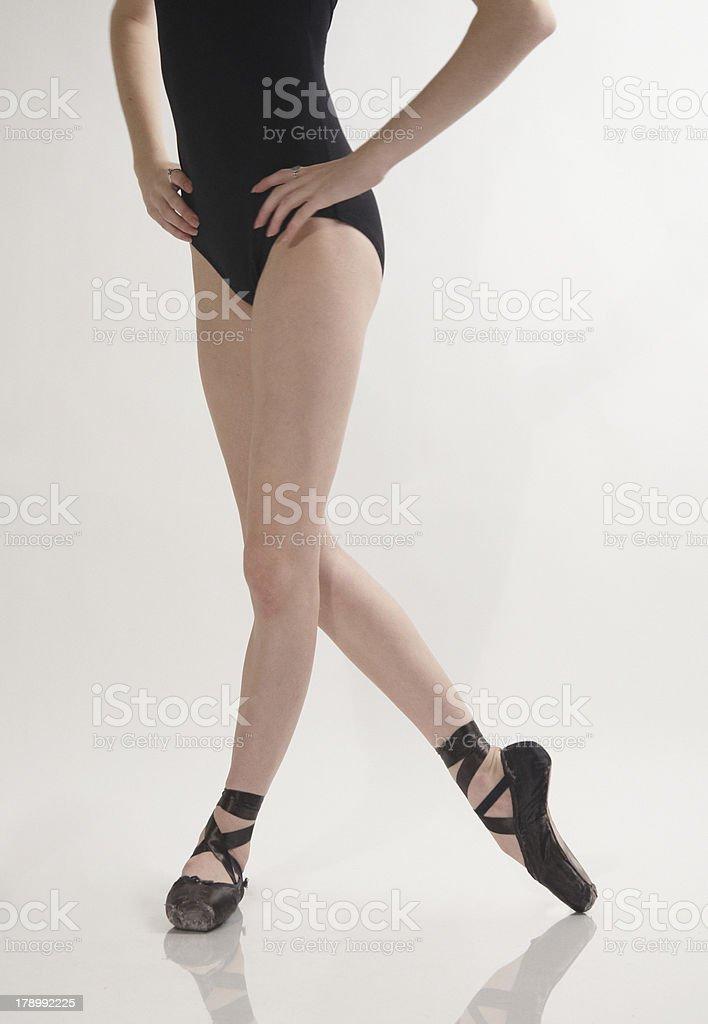Close up of ballerina's legs posing royalty-free stock photo