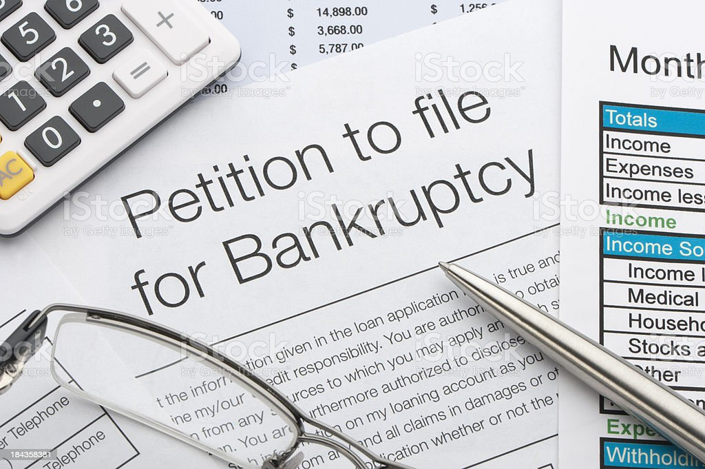 Close up of bankruptcy petition stock photo