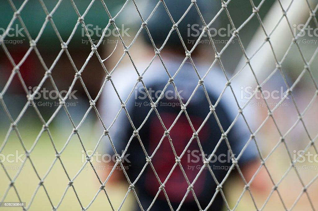 Close up of baseball fence stock photo