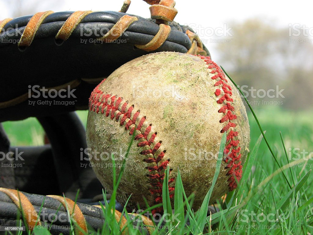 Close up of baseball in mit stock photo