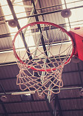 Close up of Basketball Hoop in Sport Hall