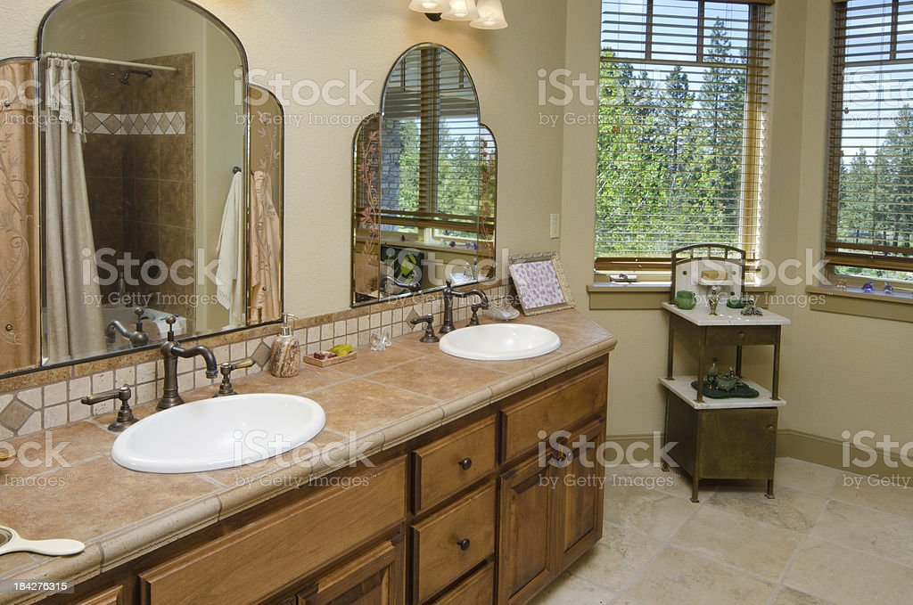 Close up of bathroom sinks royalty-free stock photo