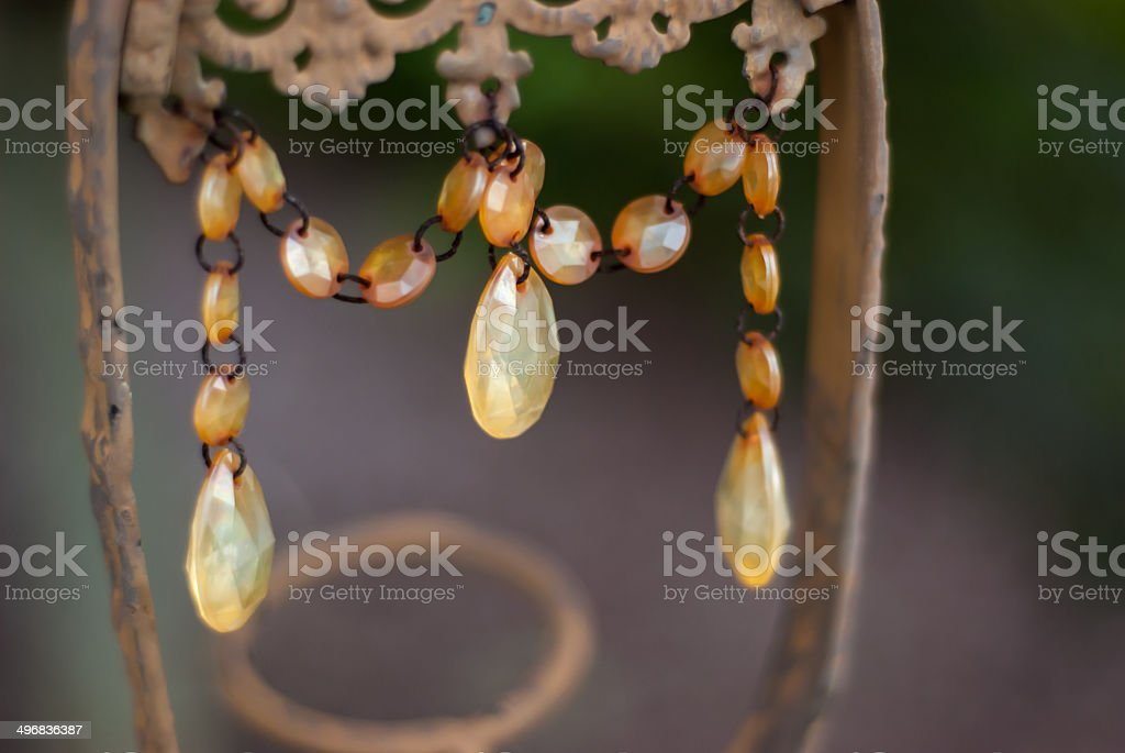 Close up of Beaded Crystals on Decor stock photo