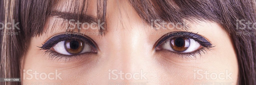 Close up of beautiful caucasian woman eyes royalty-free stock photo
