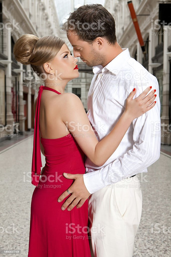 close up of beautiful couple in love posing outdoors stock photo