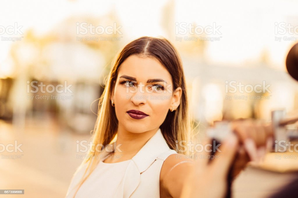 Close up of beautiful young model, green eyes stock photo