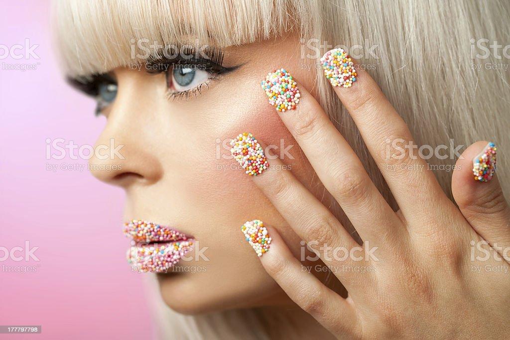 Gros plan de beauté maquillage. photo libre de droits