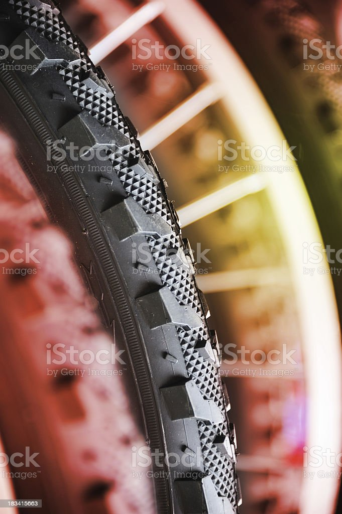 Close up of bicycle tyre royalty-free stock photo