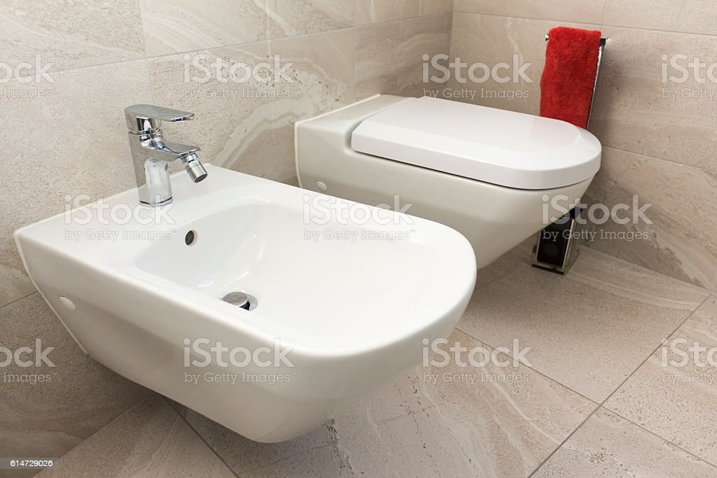 close up of Bidet and wc in the bathroom stock photo