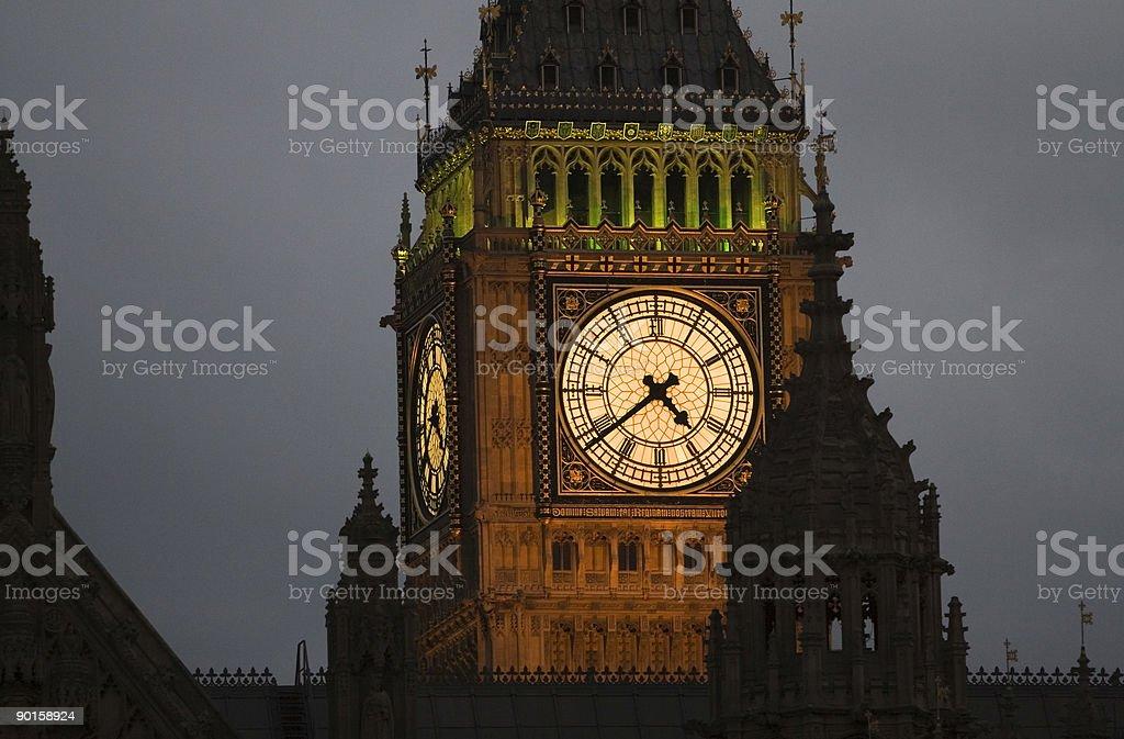 Close up of Big Ben at twilight royalty-free stock photo