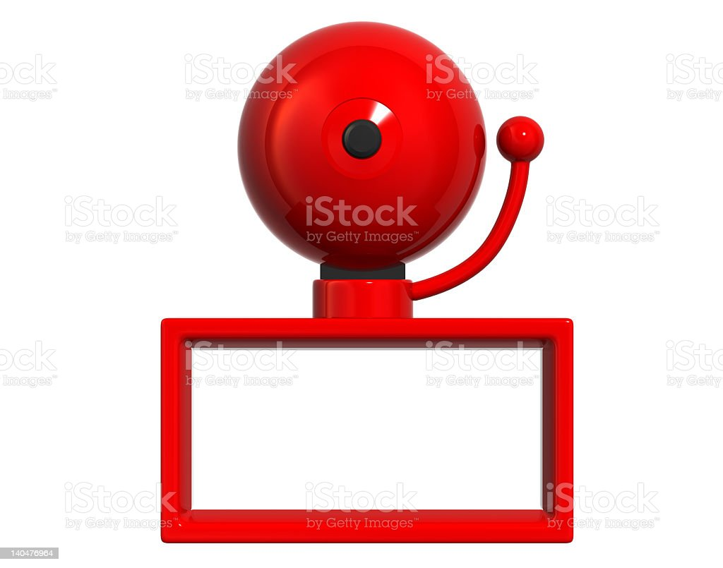 Close up of big red bell on red open stand  stock photo