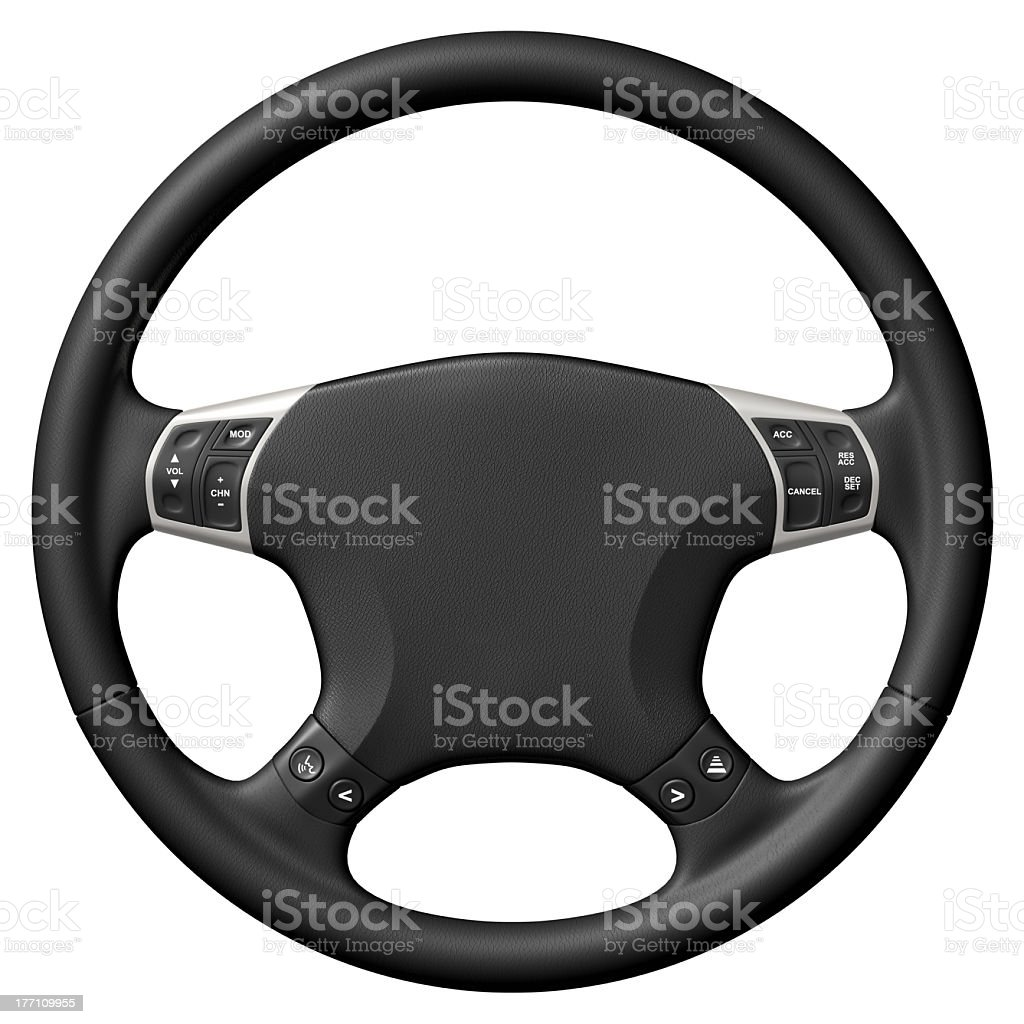 Close up of black and silver steering wheel stock photo
