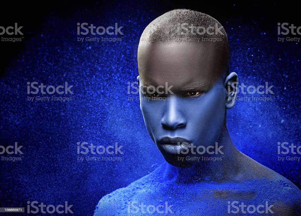 close up of black male model with blue make-up royalty-free stock photo