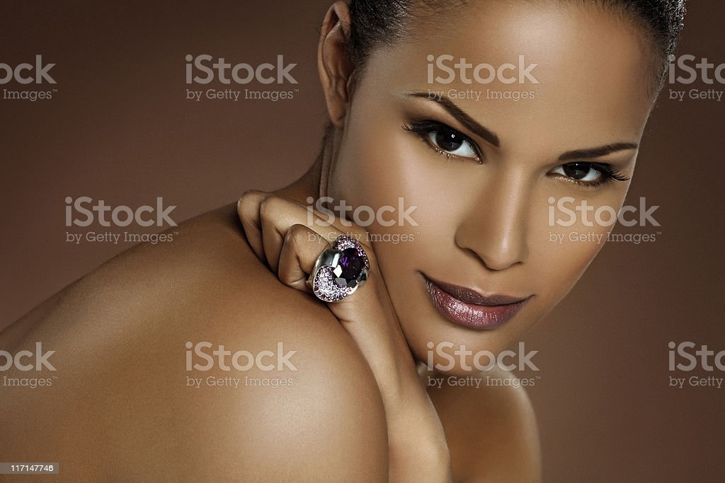 close up of black woman wearing ring royalty-free stock photo