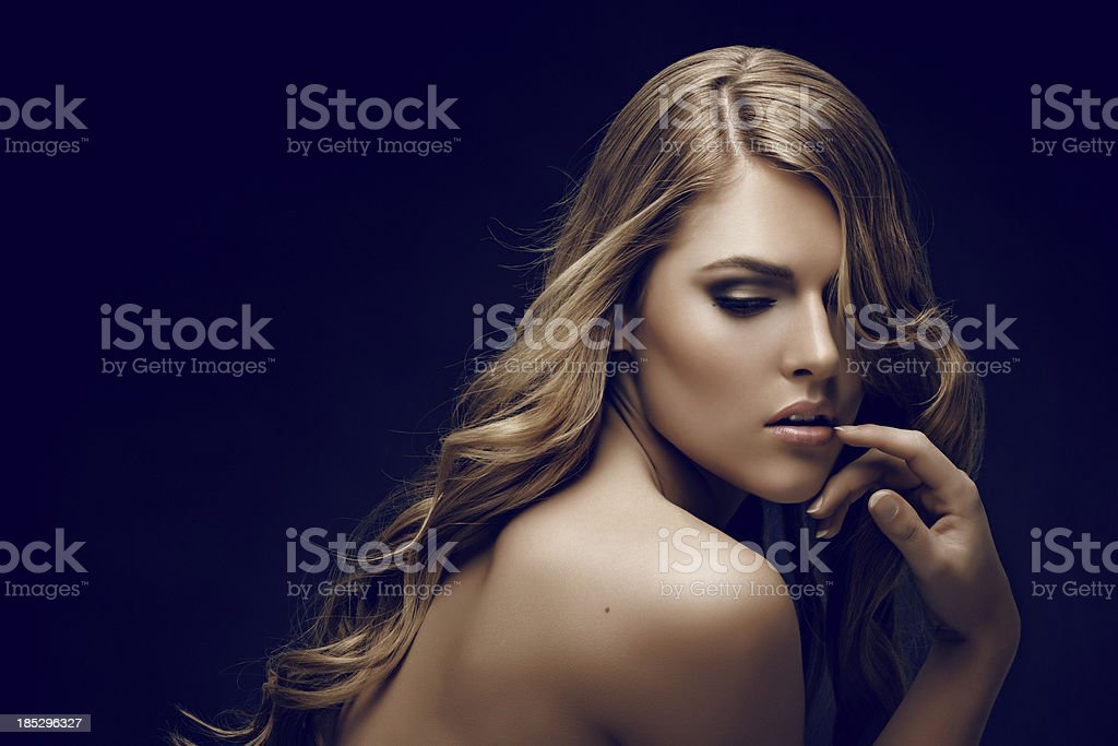 close up of blond sensual woman royalty-free stock photo