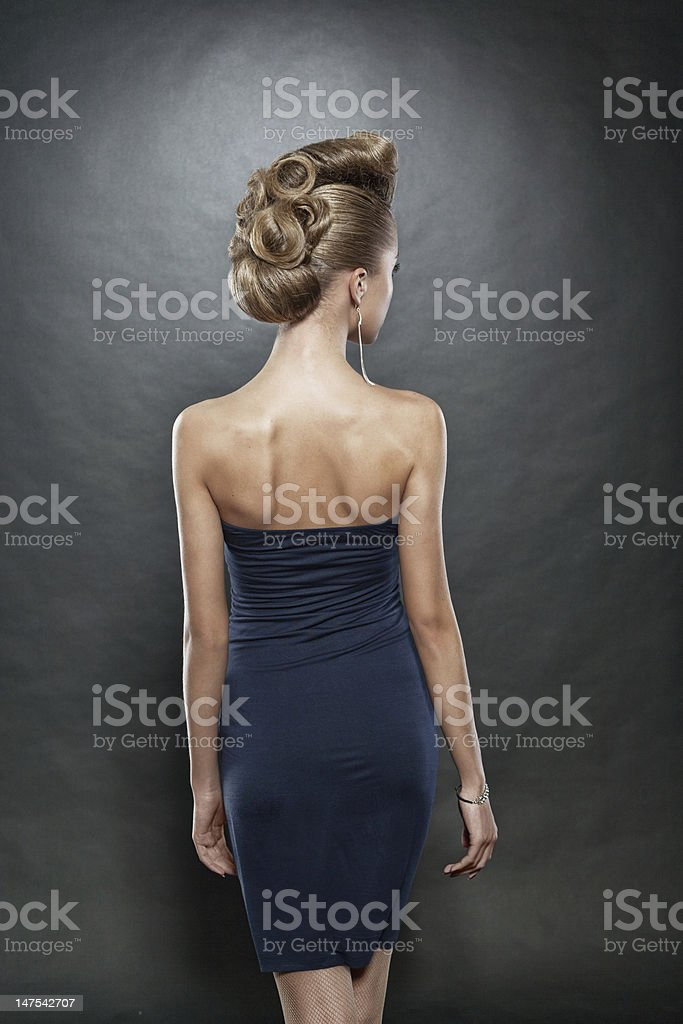 close up of blond woman with fashion hairstyle royalty-free stock photo