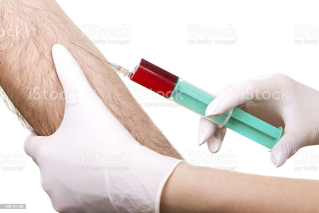 close up of blood extraction in lab royalty-free stock photo