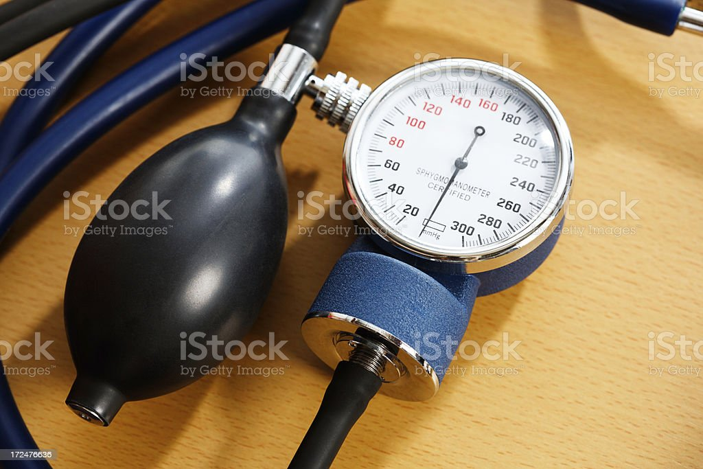Close up of blood pressure equipment dial and squeeze bulb stock photo