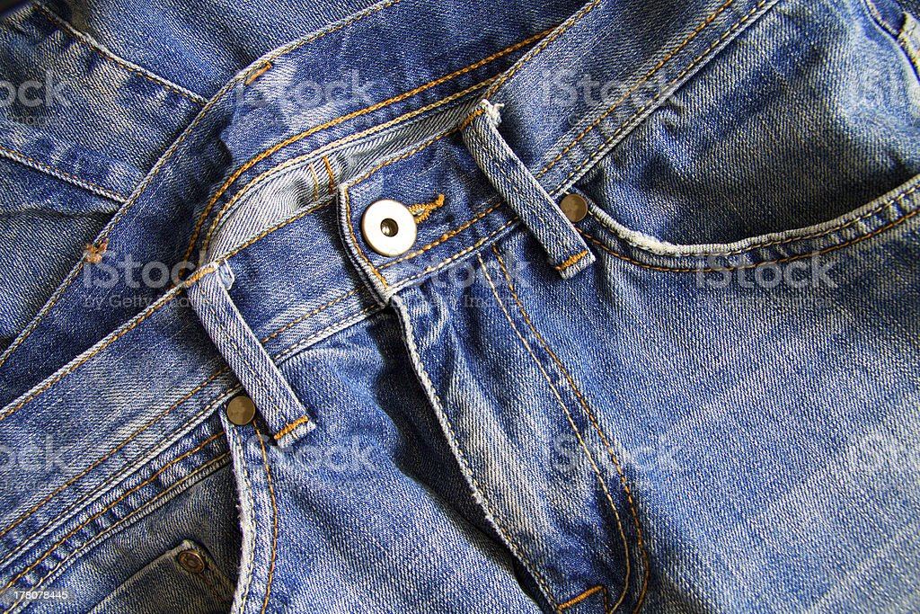 Close up of blue jeans royalty-free stock photo