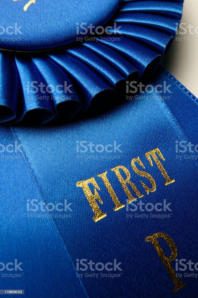 Close up of blue ribbon royalty-free stock photo