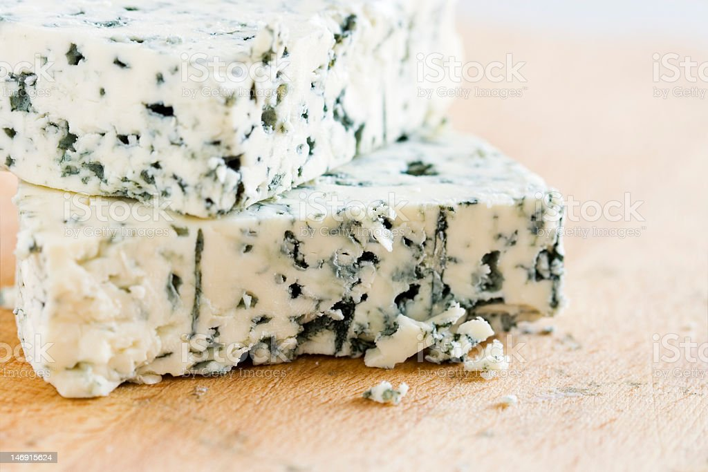 Close up of blue veined cheese stock photo