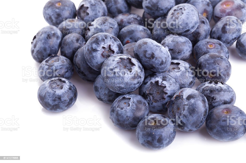 close up of blueberries on white background stock photo