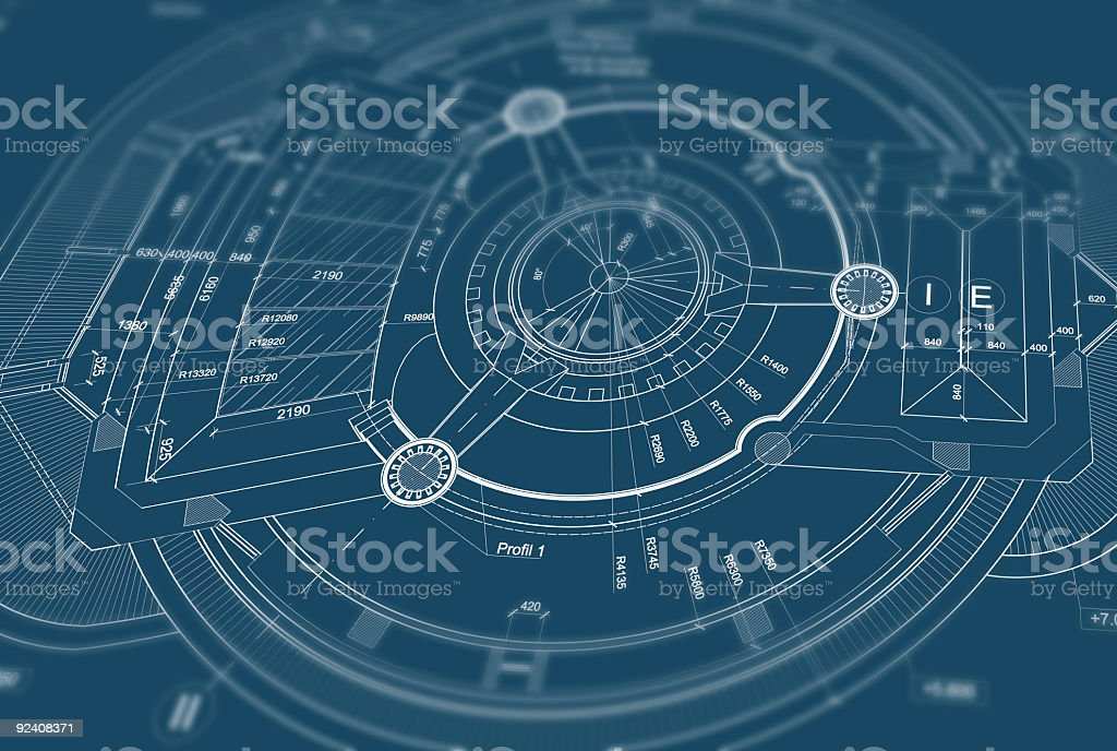 Close up of blueprint with blurred out edges stock photo