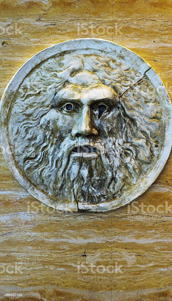 Close up of Bocca Della Verita replica in Las Vegas stock photo
