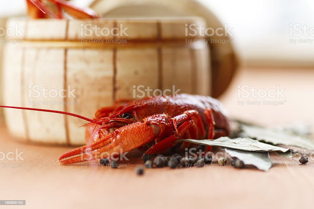 Close up of boiled crawfish royalty-free stock photo