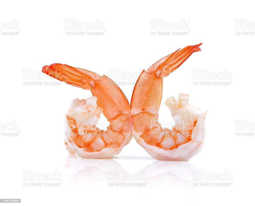 Zbliżenie gotowane krewetki owoce morza w tle zbiór zdjęć royalty-free