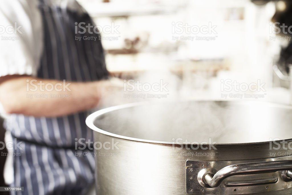 Close up of boiling pot in kitchen stock photo