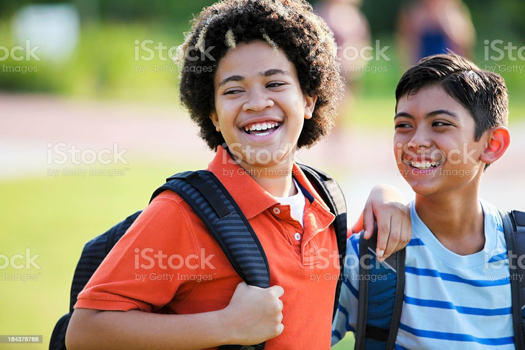 Close up of boys at school stock photo