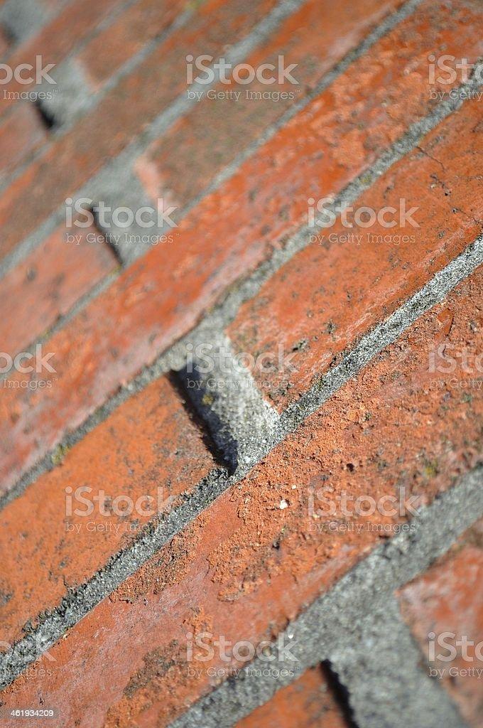 Zbliżenie Mur z cegły z perspektywy zbiór zdjęć royalty-free