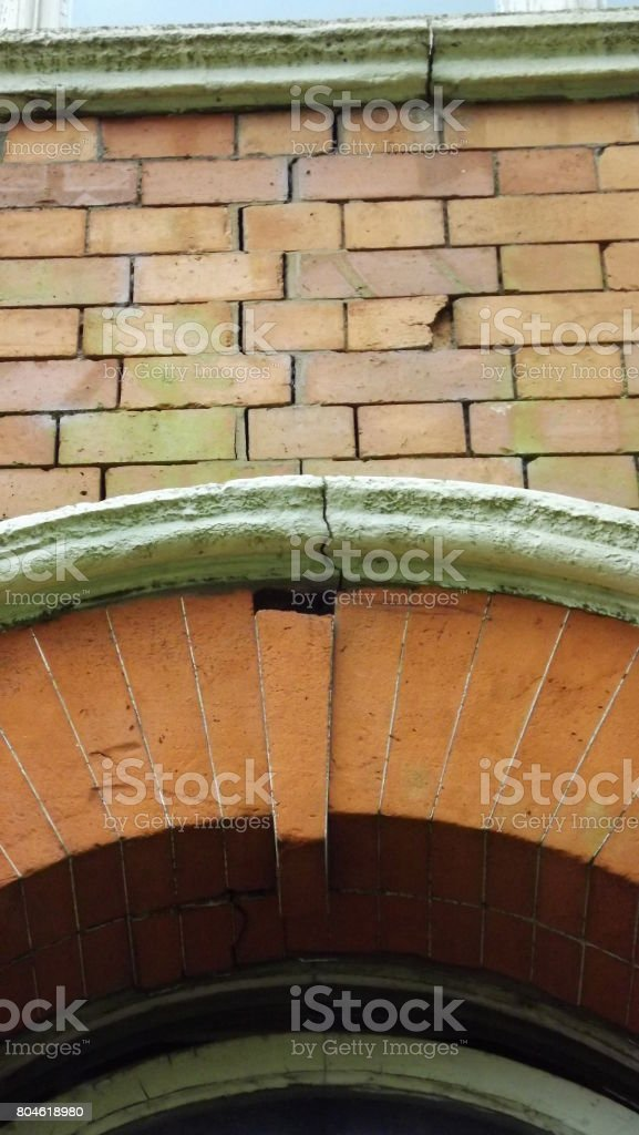 Close up of bricks from a Victorian Factory in England. stock photo