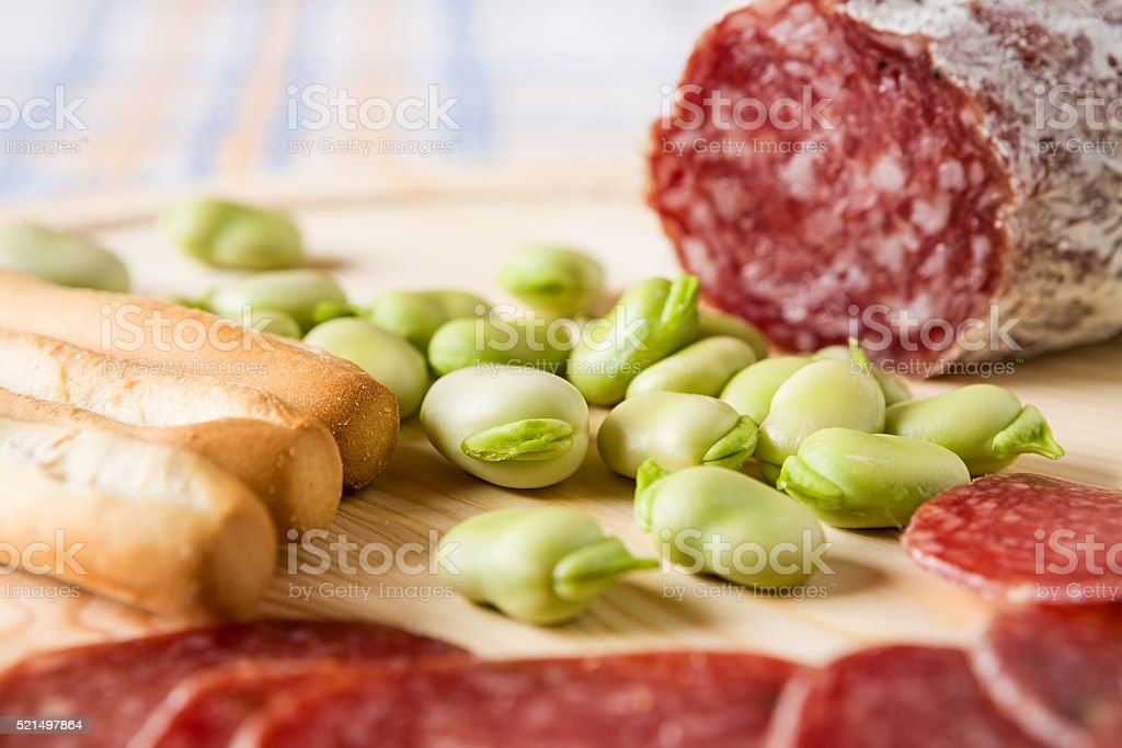 Close up of broad bean and bread sticks stock photo