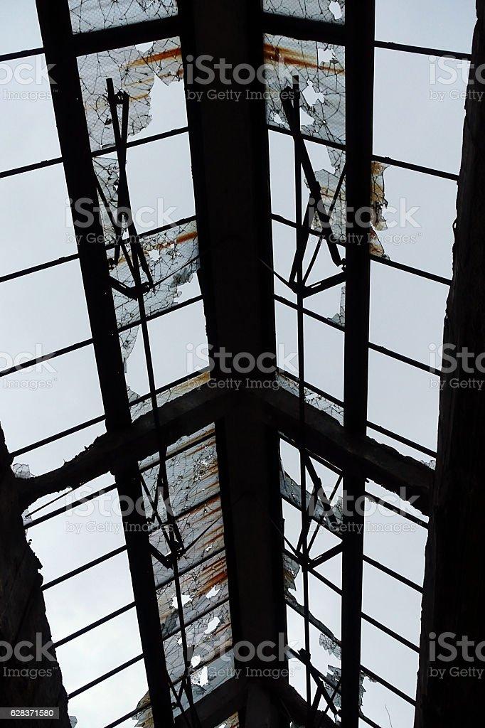 Close Up of Broken Windows stock photo