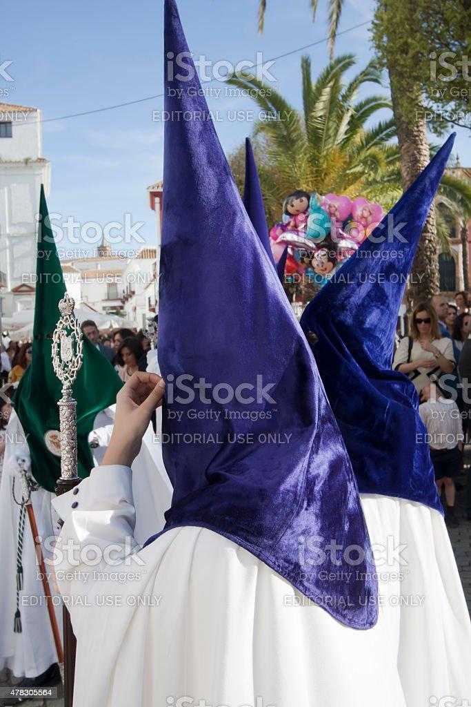 Close up of brotherhood members in Holy week in Spain. stock photo